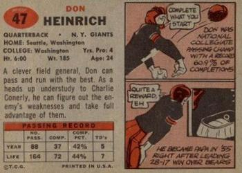 1957 Topps #47 Don Heinrich Back