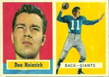 1957 Topps #47 Don Heinrich Front