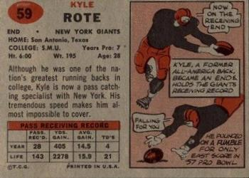 1957 Topps #59 Kyle Rote Back