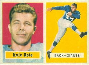 1957 Topps #59 Kyle Rote Front