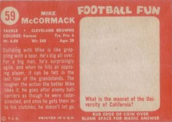 1958 Topps #59 Mike McCormack Back