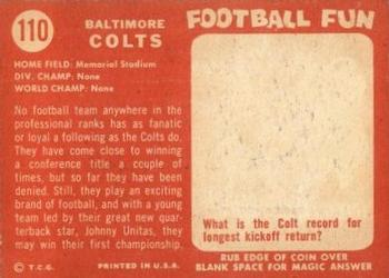 1958 Topps #110 Baltimore Colts Back