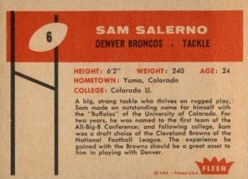 1960 Fleer #6 Sam Salerno Back