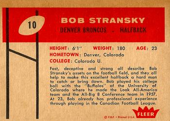 1960 Fleer #10 Bob Stransky Back