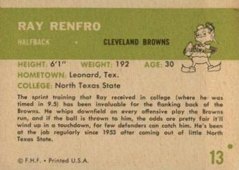 1961 Fleer #13 Ray Renfro Back