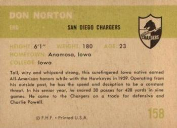 1961 Fleer #158 Don Norton Back