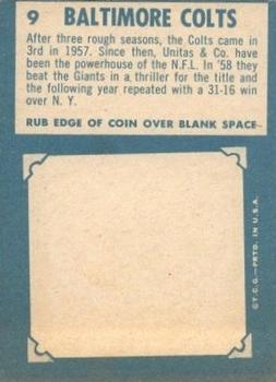 1961 Topps #9 Baltimore Colts Team Back