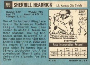 1964 Topps #99 Sherrill Headrick Back