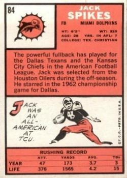 1966 Topps #84 Jack Spikes Back