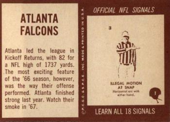 1967 Philadelphia #1 Atlanta Falcons Back