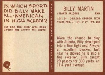 1967 Philadelphia #6 Billy Martin Back