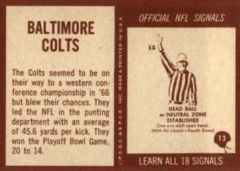 1967 Philadelphia #13 Baltimore Colts Back