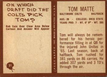 1967 Philadelphia #21 Tom Matte Back