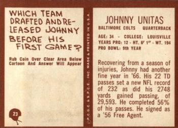 1967 Philadelphia #23 Johnny Unitas Back