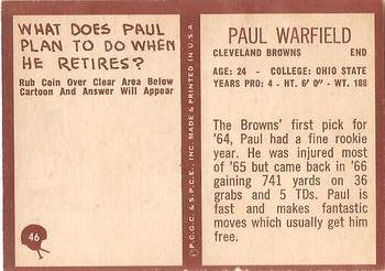 1967 Philadelphia #46 Paul Warfield Back
