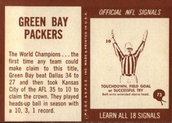 1967 Philadelphia #73 Green Bay Packers Back