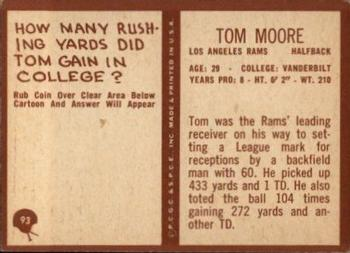 1967 Philadelphia #93 Tom Moore Back