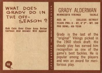 1967 Philadelphia #98 Grady Alderman Back