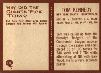 1967 Philadelphia #114 Tom Kennedy Back