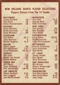 1967 Philadelphia #132 Saints Roster Back