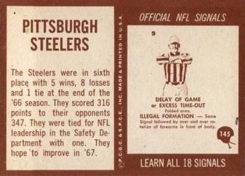 1967 Philadelphia #145 Pittsburgh Steelers Back