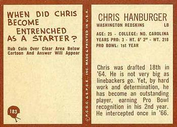 1967 Philadelphia #183 Chris Hanburger Back