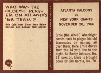 1967 Philadelphia #195 Falcons Play vs Giants - Ernie Wheelwright  Back
