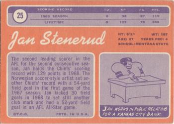 1970 Topps 25 Jan Stenerud The Trading Card Database