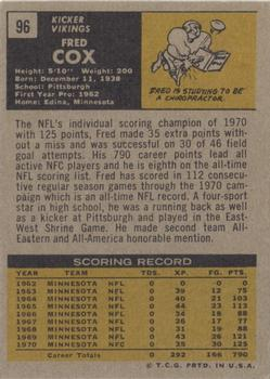 1971 Topps #96 Fred Cox Back