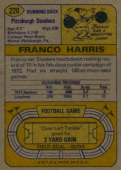 1974 Topps #220 Franco Harris Back