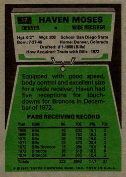 1975 Topps #17 Haven Moses Back