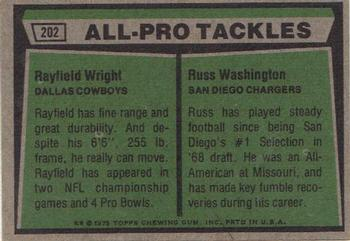 1975 Topps #202 Rayfield Wright / Russ Washington Back