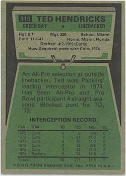 1975 Topps #315 Ted Hendricks Back
