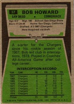 1975 Topps #37 Bob Howard Back