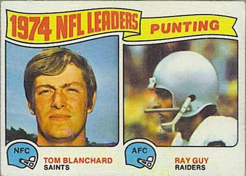 1975 Topps #6 1974 Punting Leaders - Tom Blanchard / Ray Guy Front