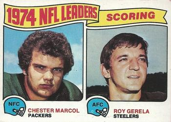 1975 Topps #4 1974 Scoring Leaders - Chester Marcol / Roy Gerela Front