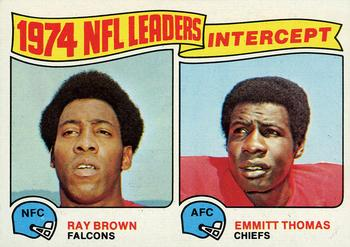 1975 Topps #5 1974 Interception Leaders - Ray Brown / Emmitt Thomas Front