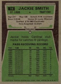 1975 Topps #14 Jackie Smith Back