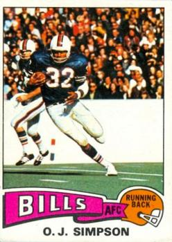 1975 Topps #500 O.J. Simpson Front