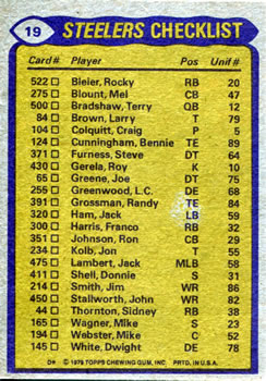 1979 Topps #19 Franco Harris / Larry Anderson / Tony Dungy / L.C. Greenwood Back