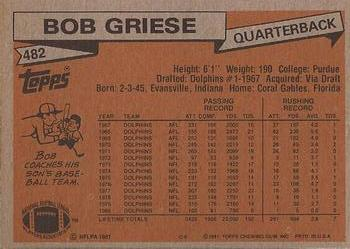1981 Topps #482 Bob Griese Back