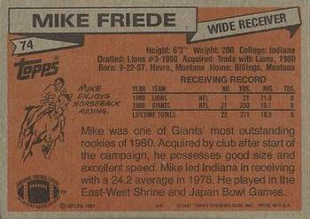 1981 Topps #74 Mike Friede Back