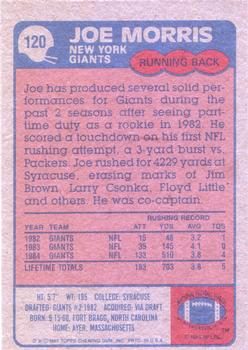 1985 Topps #120 Joe Morris Back