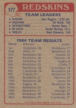 1985 Topps #177 Redskins Team Leaders Back