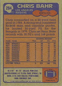 1985 Topps #284 Chris Bahr Back