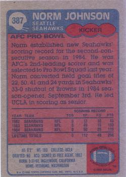 1985 Topps #387 Norm Johnson Back