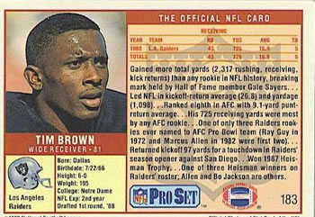 1989 Pro Set #183 Tim Brown Back
