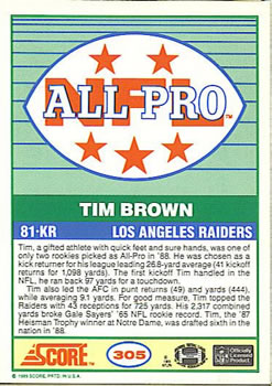 1989 Score #305a Tim Brown Back