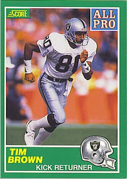 1989 Score #305a Tim Brown Front
