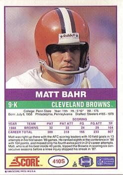 1989 Score Supplemental #410S Matt Bahr  Back